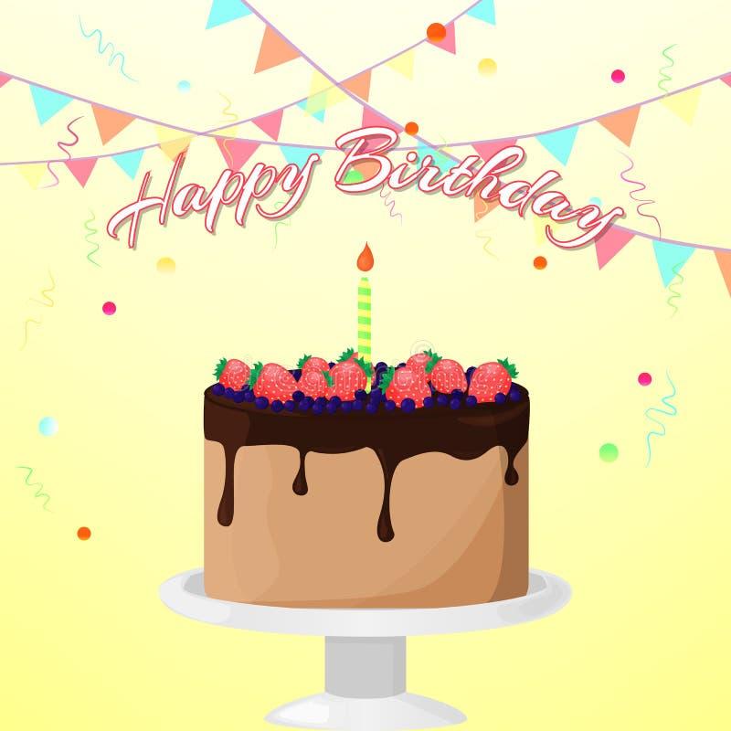 Ilustração brilhante do vetor com ` do feliz aniversario do ` do bolo, da vela, das flâmulas, dos confetes e da rotulação no fund ilustração royalty free