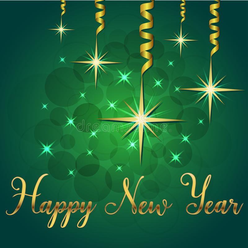 Ilustração brilhante do vetor das estrelas e dos sparkles no ano novo feliz verde das felicitações da rotulação do fundo e da mão ilustração royalty free