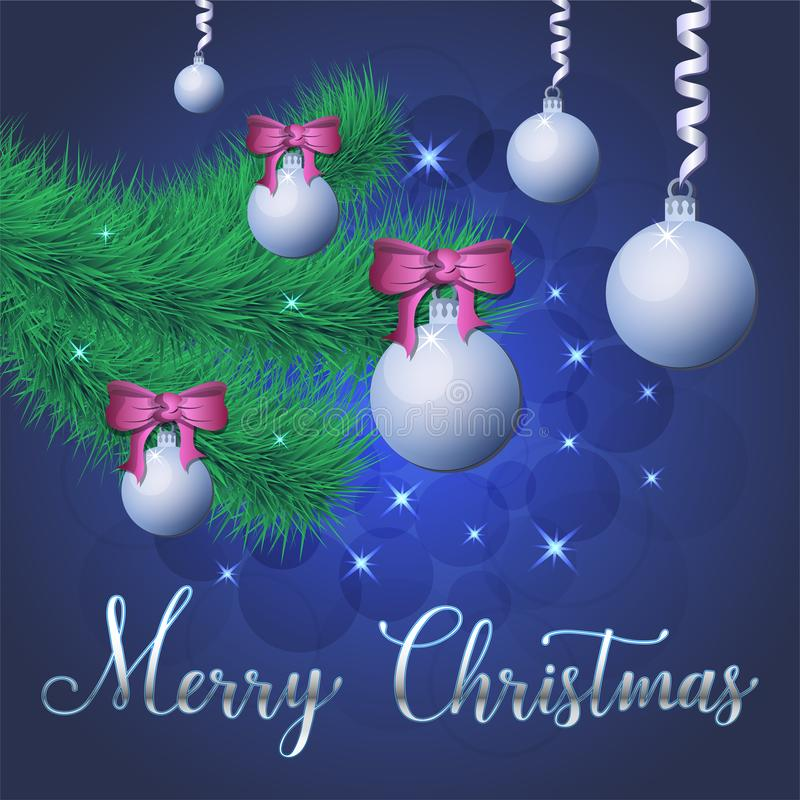 Ilustração brilhante do vetor das estrelas e dos sparkles no fundo azul, com decorações do Natal, bolas, ramo do abeto vermelho,  ilustração stock