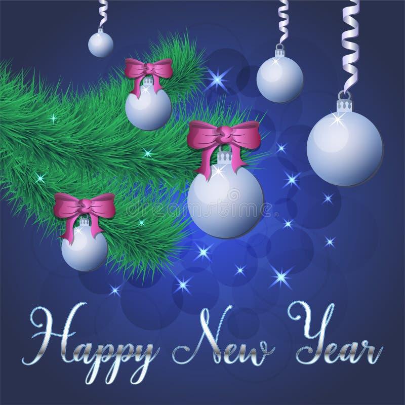 Ilustração brilhante do vetor das estrelas e dos sparkles no fundo azul, com decorações do Natal, bolas, ramo do abeto vermelho,  ilustração royalty free