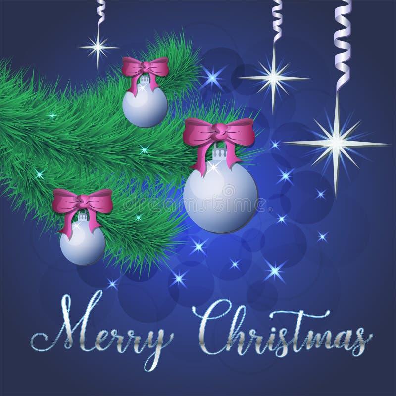 Ilustração brilhante do vetor das estrelas e dos sparkles no fundo azul, com decorações do Natal, bolas, ramo do abeto vermelho,  ilustração do vetor
