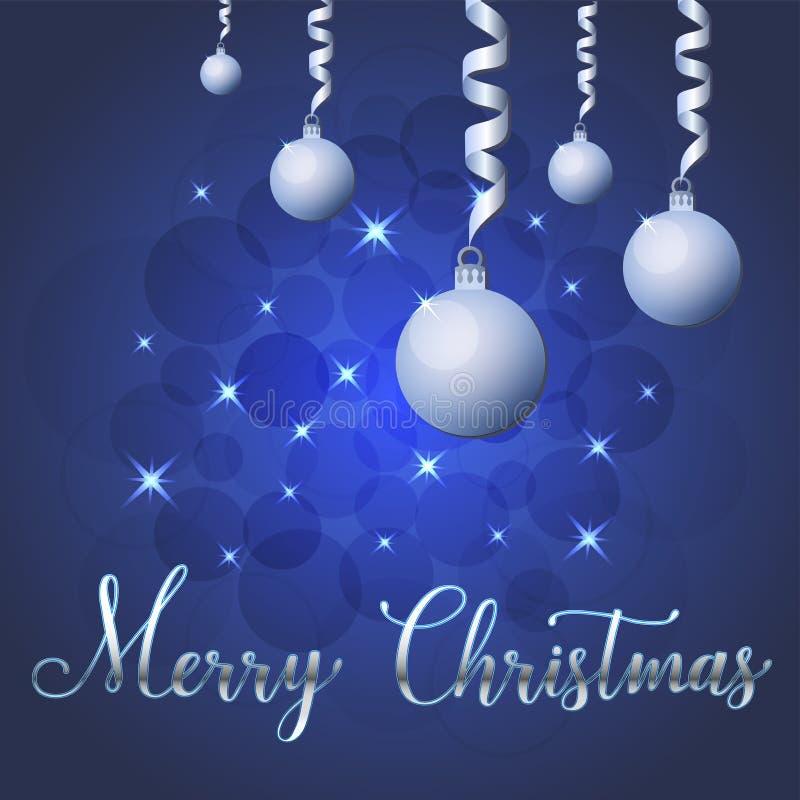 Ilustração brilhante do vetor das estrelas e dos sparkles no fundo azul, com decorações do Natal, bolas, rotulação da mão alegre ilustração do vetor
