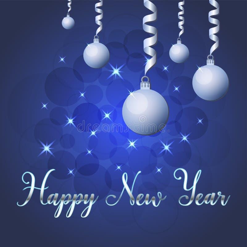 Ilustração brilhante do vetor das estrelas e dos sparkles no fundo azul, com decorações do Natal, bolas, rotulação da mão feliz ilustração stock