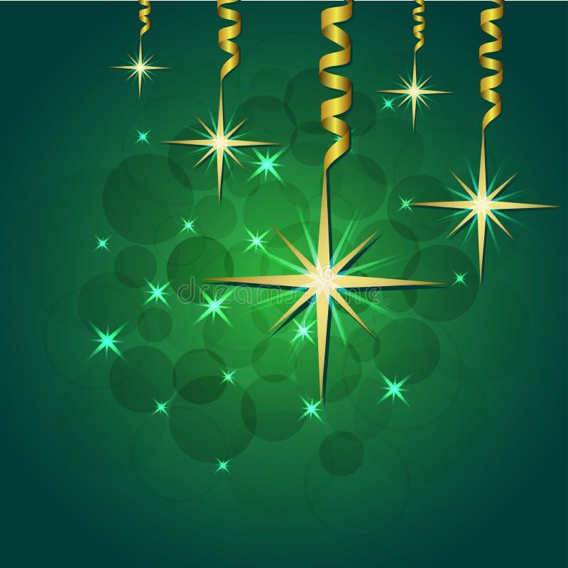 Ilustração brilhante do vetor das estrelas e dos sparkles no fundo verde ilustração do vetor