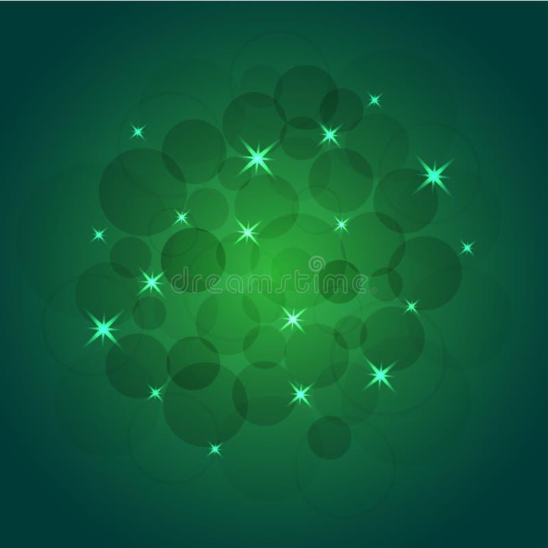 Ilustração brilhante do vetor das estrelas e dos sparkles no fundo verde ilustração stock
