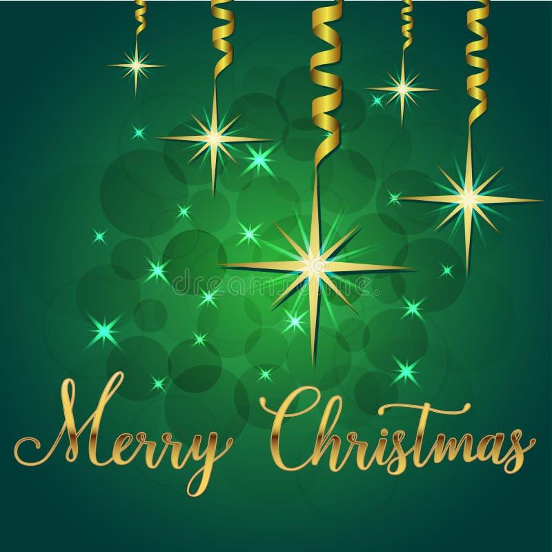 Ilustração brilhante do vetor das estrelas e dos sparkles no fundo verde e na mão que rotulam o Feliz Natal das felicitações, afe ilustração royalty free
