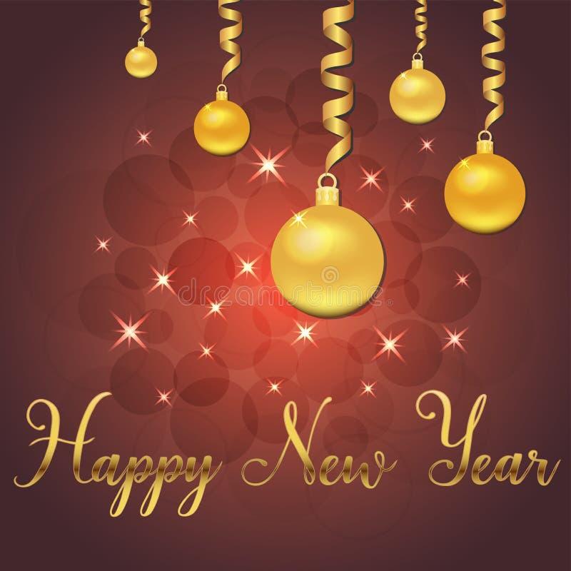 Ilustração brilhante do vetor das estrelas e dos sparkles no fundo vermelho, com decorações do Natal, bolas, novo feliz da rotula ilustração stock