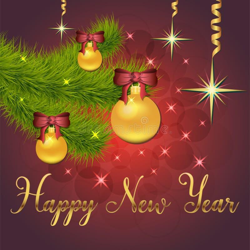 Ilustração brilhante do vetor das estrelas e dos sparkles no fundo vermelho, com decorações do Natal, bolas, ramo do abeto vermel ilustração royalty free
