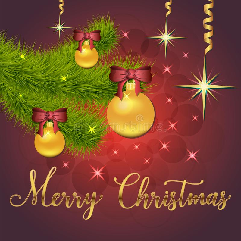 Ilustração brilhante do vetor das estrelas e dos sparkles no fundo vermelho, com decorações do Natal, bolas, ramo do abeto vermel ilustração do vetor