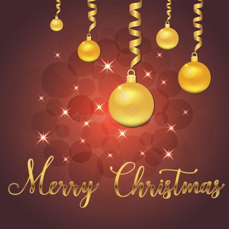 Ilustração brilhante do vetor das estrelas e dos sparkles no fundo vermelho, com decorações do Natal, bolas, rotulação da mão ale ilustração stock