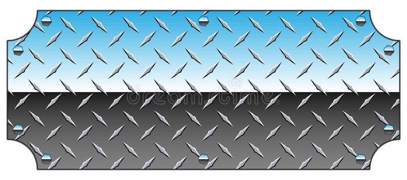 Ilustração brilhante do vetor de Chrome Diamond Plate Metal Sign Background ilustração royalty free