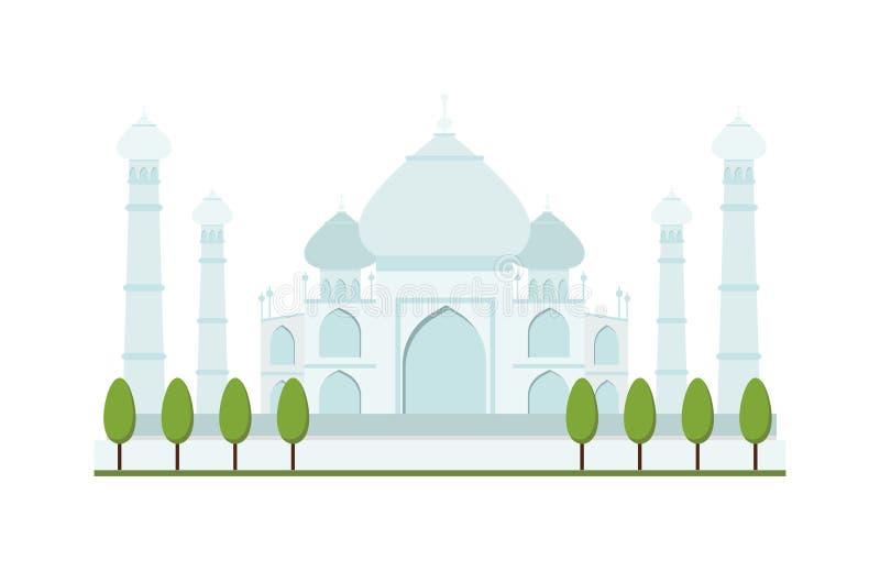 Ilustração brilhante do vetor do templo da arquitetura do curso do palácio de india agra do dia claro de Taj Mahal ilustração stock