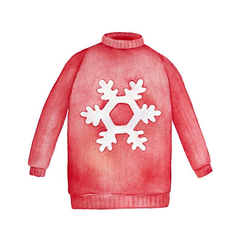Ilustração brilhante e festiva da camiseta do Natal do floco de neve ilustração royalty free
