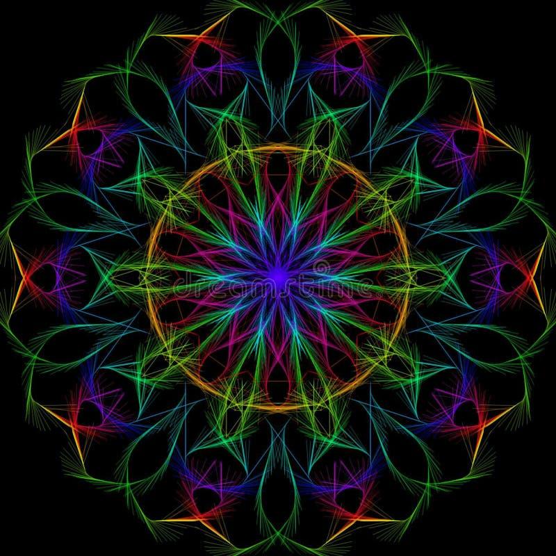 Ilustração brilhante multicolorido do estilo do caleidoscópio em um fundo preto fotos de stock royalty free