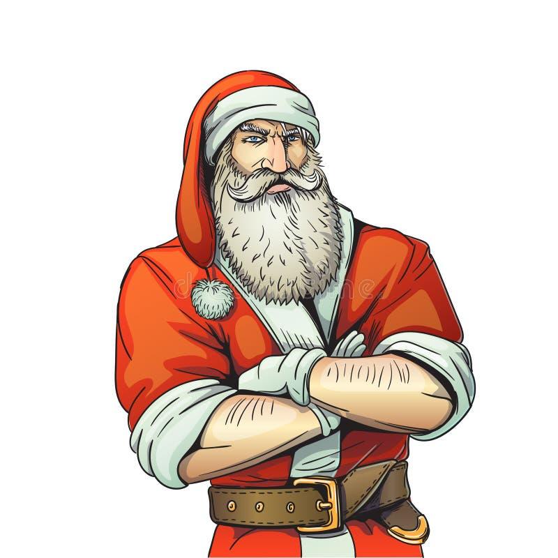 Ilustração brutal do estilo dos desenhos animados de Santa Claus ilustração do vetor