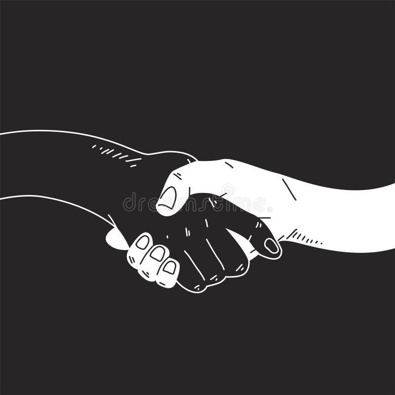 Ilustração cômica do estilo de agitar as mãos ilustração stock