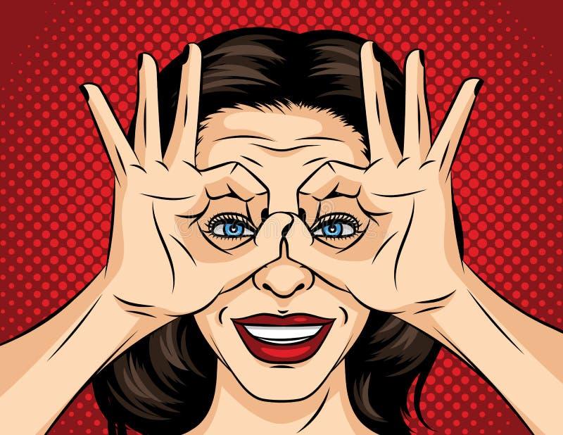 Ilustração cômica do estilo do pop art do vetor de uma cara da jovem mulher Uma menina à procura de algo A menina cruzou seus ded ilustração do vetor