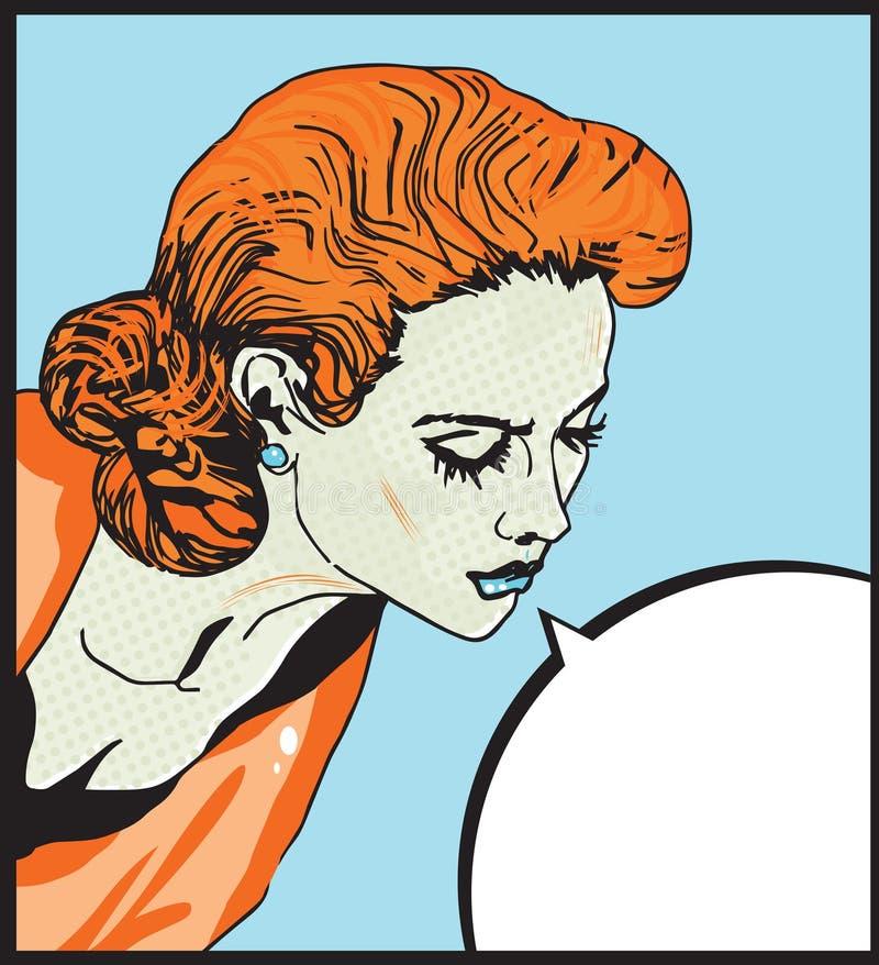 Ilustração cômica do amor da mulher retro 'sexy' da menina do pop art com a bolha do discurso ilustração royalty free