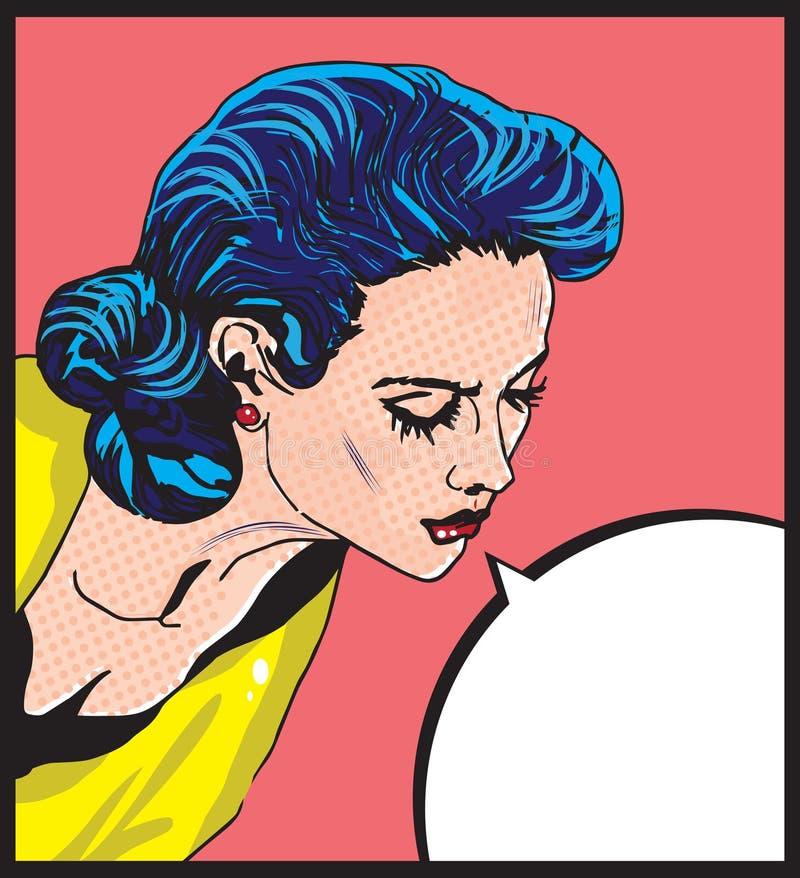 Ilustração cômica do vetor do amor da mulher retro ilustração stock