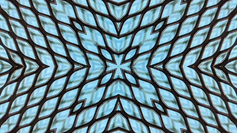 Ilustração calidoscópico de uma grade do metal ilustração do vetor