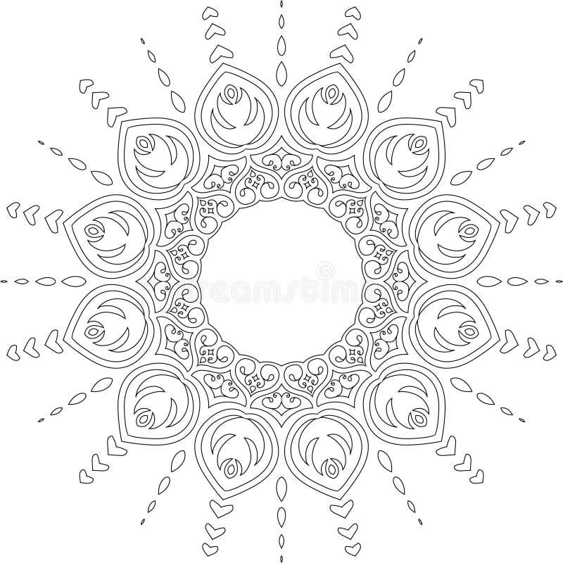 Ilustração calma bonita do vetor da mandala imagens de stock royalty free