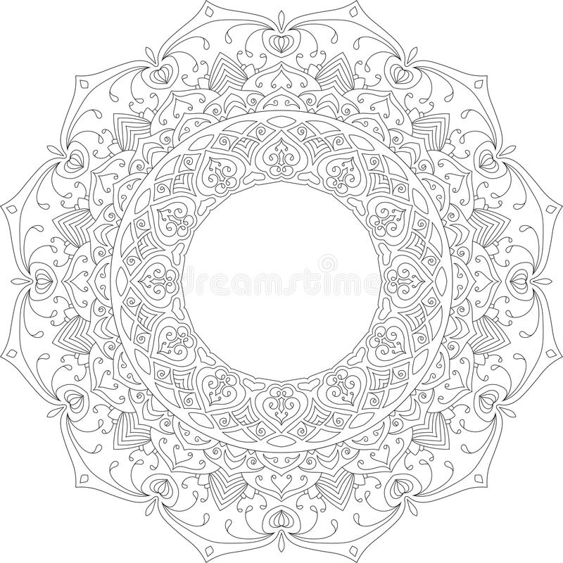 Ilustração calma bonita do vetor da mandala imagem de stock