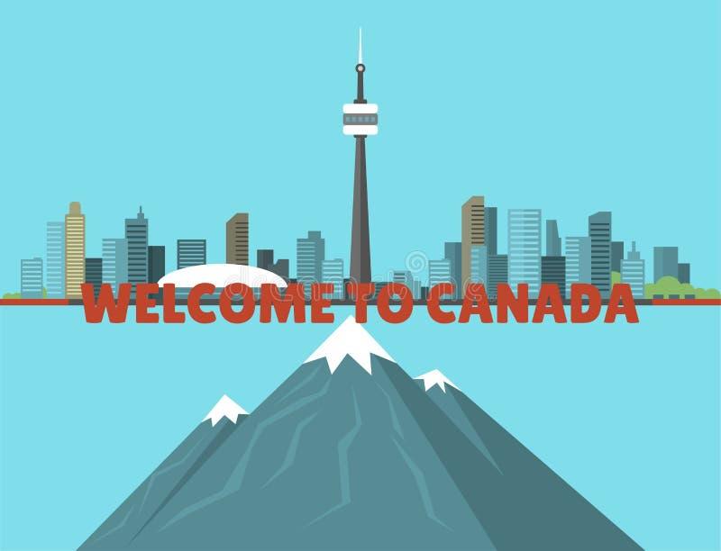 Ilustração canadense do centro do vetor da arquitetura da cidade do fundo do pico da skyline da natureza da montanha da angra da  ilustração do vetor