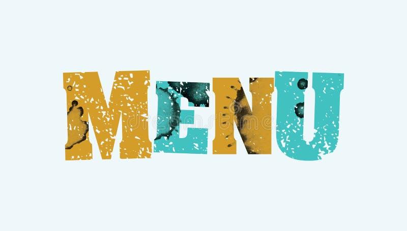 Ilustração carimbada colorida da palavra do conceito do menu ilustração royalty free