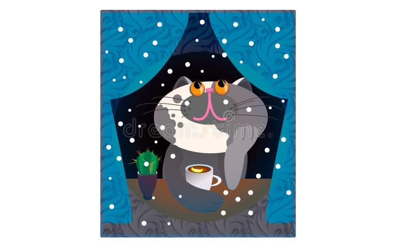 Ilustração Cat Funny Cartoon do vetor ilustração do vetor