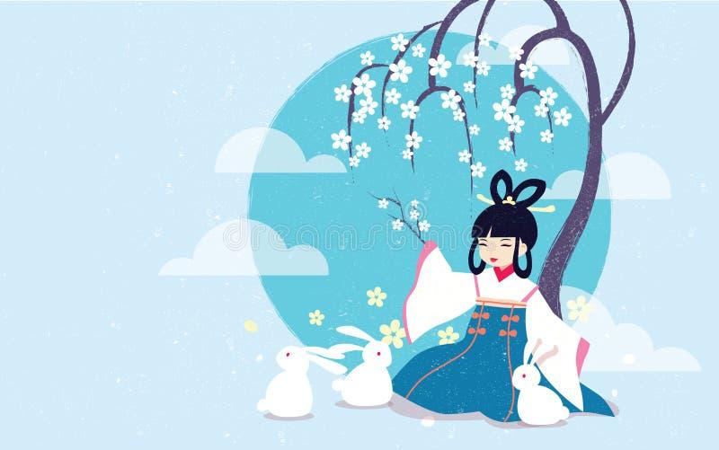 Ilustração Chang& x27 do vetor; festival meados de do outono da legenda de e ilustração stock