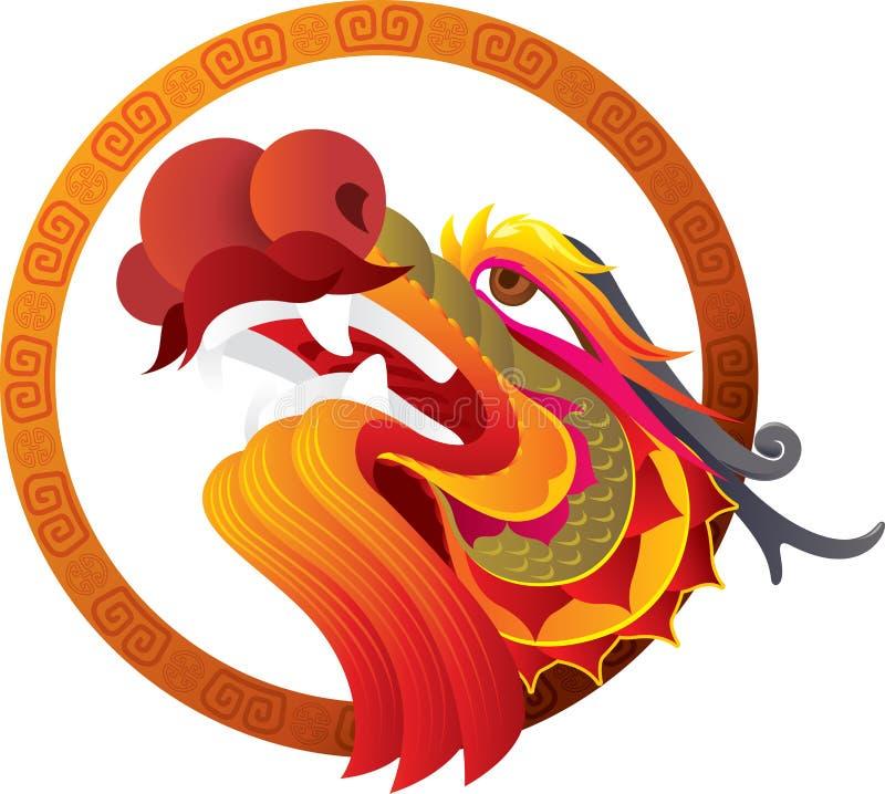 Arte chinesa da cabeça do dragão ilustração royalty free