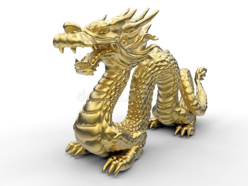 Ilustração chinesa do dragão do ouro - opinião de perspectiva ilustração royalty free