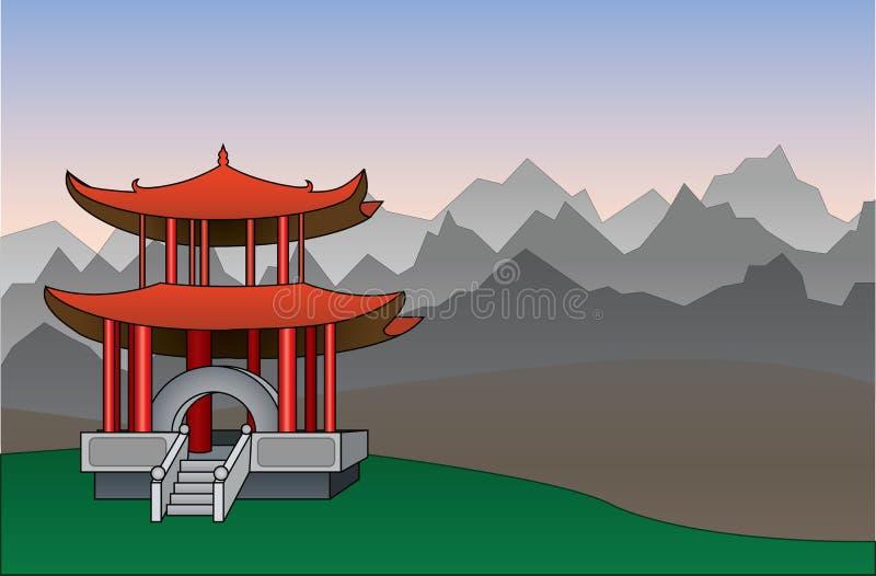 Ilustração chinesa do vetor do fundo do pagode ilustração stock