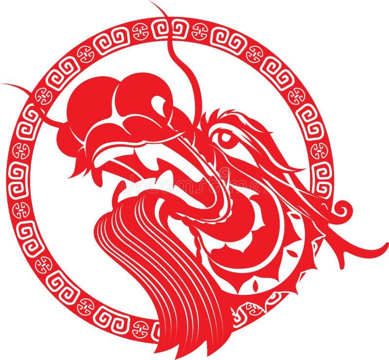 Arte chinesa vermelha da cabeça do dragão ilustração royalty free