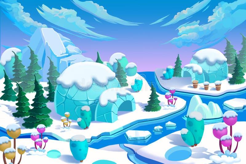 Ilustração: A cidade Eskimo do iglu A ponte, o rio do gelo, a montanha do gelo, as flores do gelo, os pinheiros verdes ilustração stock