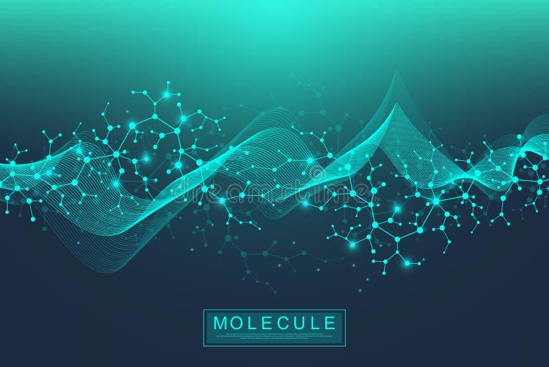 Ilustração científica da hélice dobro do ADN do fundo da molécula com profundidade de campo rasa Papel de parede ou bandeira mist ilustração do vetor