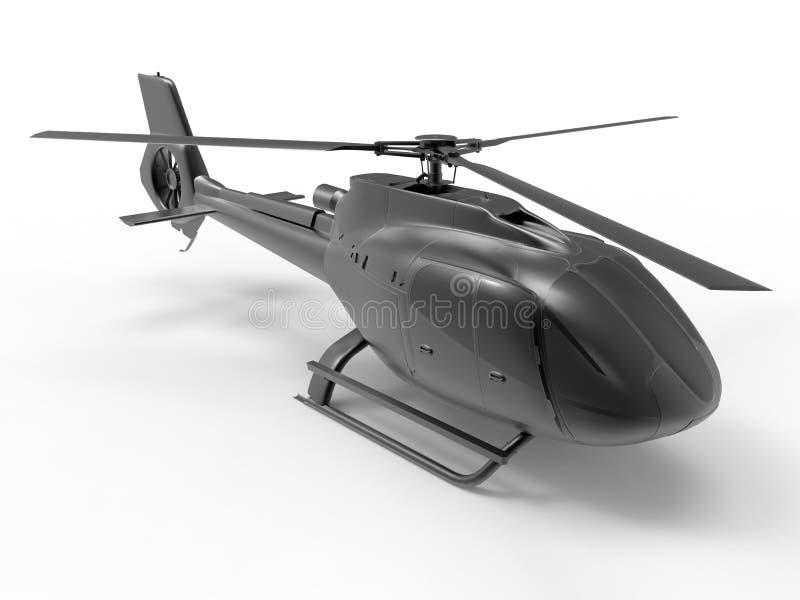 Ilustração civil preta do helicóptero ilustração do vetor