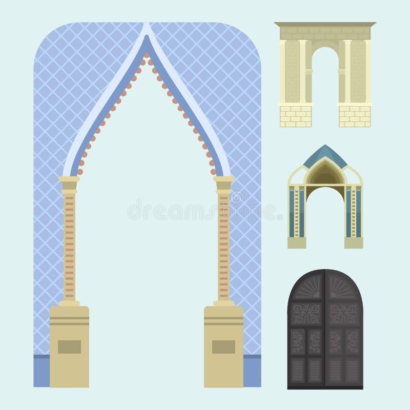 Ilustração clássica do projeto da entrada da coluna do quadro da construção da arquitetura do vetor do arco ilustração stock