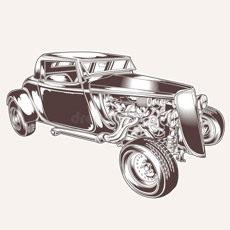 Ilustra??o cl?ssica do projeto do ratrodvector do motor do tshirt do logotipo do vetor do vintage do carro de HotRod ilustração royalty free