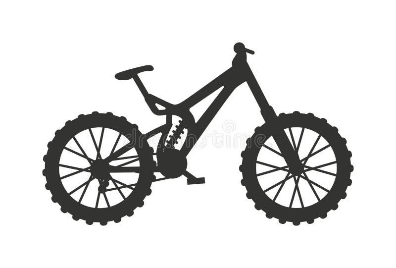 Ilustração clássica do vetor do veículo da raça do pedal da silhueta da bicicleta do esporte ilustração stock