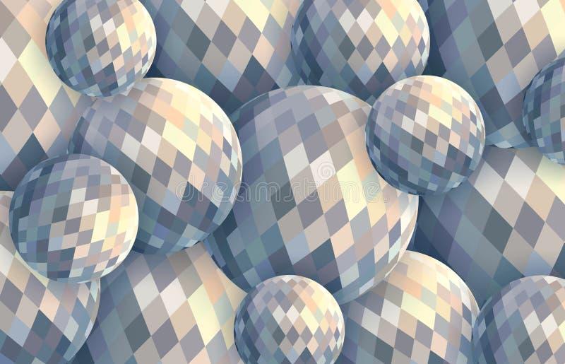 Ilustração clara das bolas de cristal 3d Fundo digital criativo das esferas do sumário ilustração royalty free