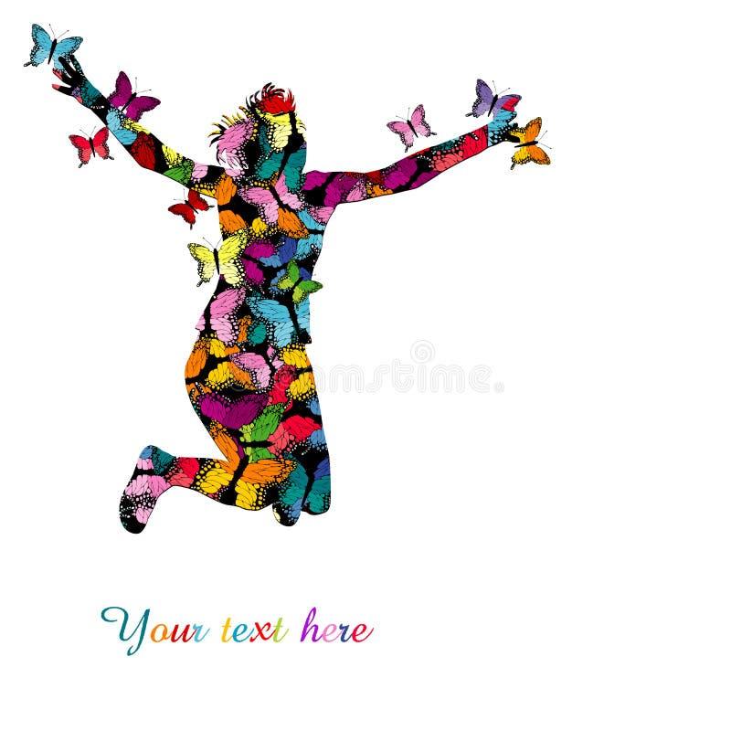 Ilustração colorida com a silhueta do salto e do colo da mulher ilustração stock