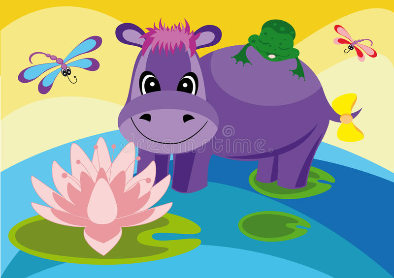 Ilustração colorida com um hipopótamo ilustração do vetor