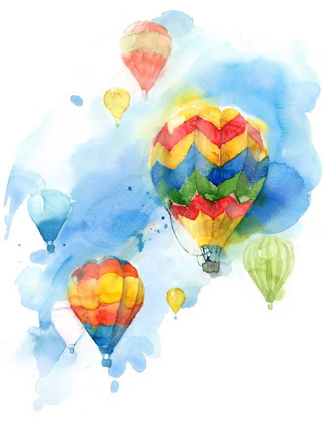 Ilustração colorida da aquarela do céu azul dos balões pintado à mão ilustração do vetor