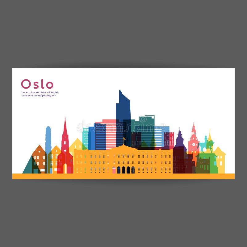 Ilustração colorida da arquitetura de Oslo ilustração royalty free