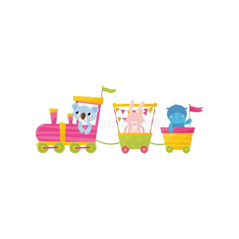 Ilustração colorida da coala, do coelho e da gigante no trem Caráteres engraçados dos animais Decoração para o cartaz, cartão ilustração stock