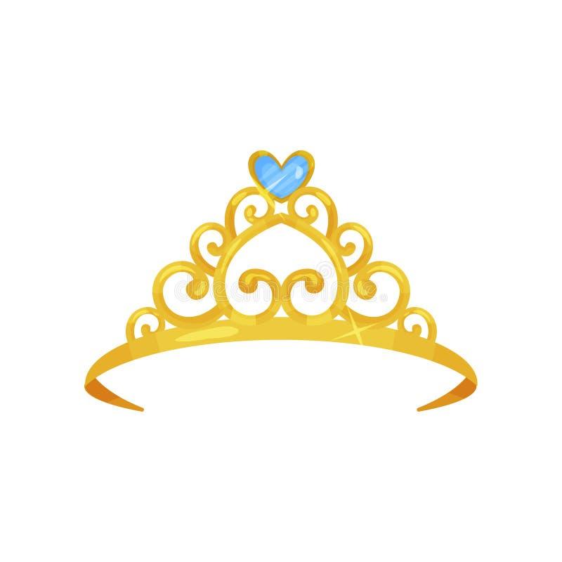 Ilustração colorida da coroa dourada da princesa Acessório principal precioso Tiara brilhante da rainha decorada com azul bonito ilustração royalty free