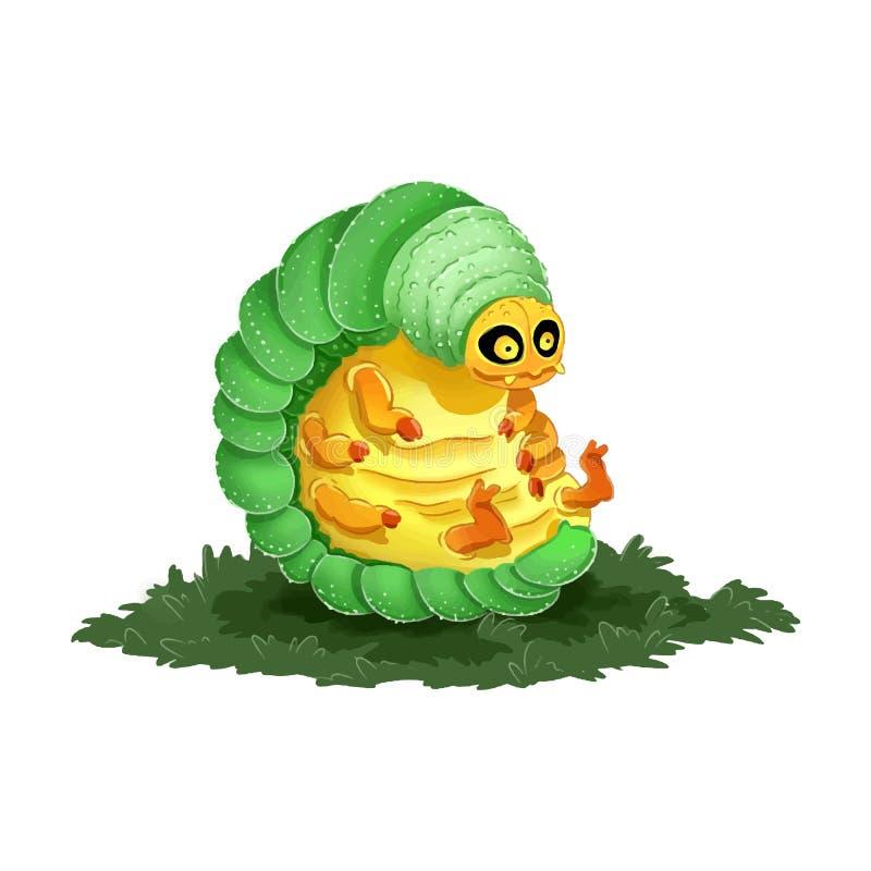 Ilustração colorida da lagarta bonito dos desenhos animados Imagem Dorky e engraçada ilustração royalty free