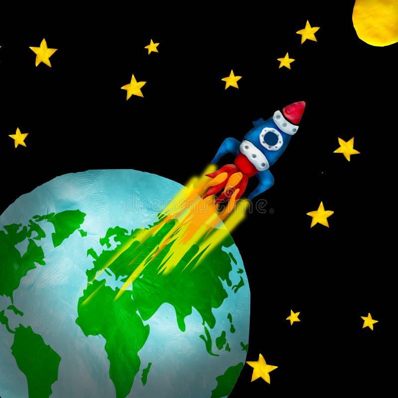 Ilustração colorida da massa de modelar com voo retro da nave espacial da terra à lua ilustração royalty free