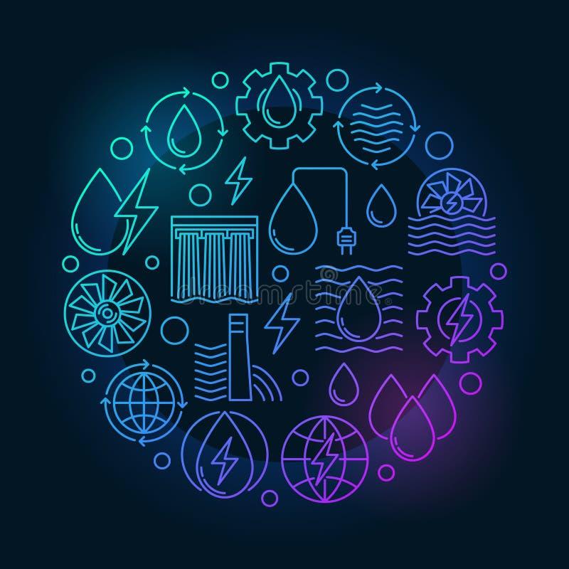 Ilustração colorida das energias hidráulicas ilustração do vetor